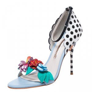Sophia Webster Multicolor Leather Lilico Flower Embellished Ankle Strap Open Toe Sandals Size 39