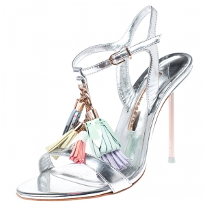 Sophia Webster Silver Patent Leather Layla Tassel Sandals Size 36 - used