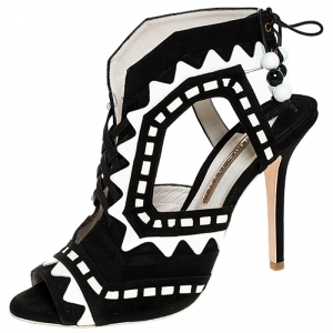 Sophia Webster Black/White Suede and Leather Riko Cut Out Sandals Size 41