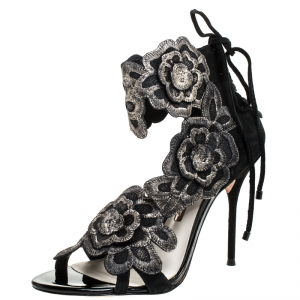 Sophia Webster Black Suede And Lace Winona Embroidered Ankle Cuff Sandals Size 38 - used