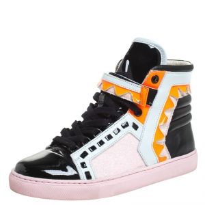 Sophia Webster Multicolor Leather, Patent and Glitter Fabric Riko High Top Sneakers Size 38