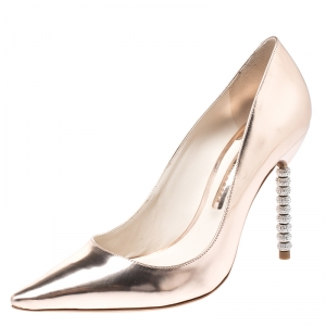 Sophia Webster Metallic Rose Gold Crystal Embellished Heel Coco Pumps Size 40.5