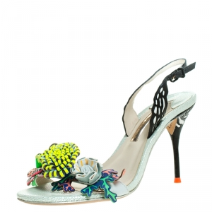 Sophia Webster Multicolor Patent Leather And Leather Lilico Underwater Floral Embellished Slingback Sandals Size 38 - used