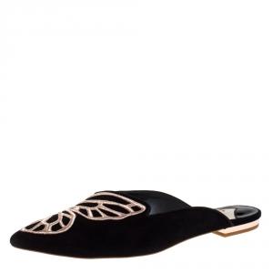 Sophia Webster Black Suede Bibi Butterfly Flat Mules Size 37.5