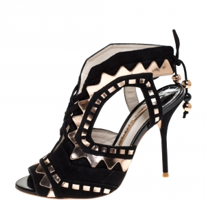 Sophia Webster Black Suede and Metallic Rose Gold Leather Riko Cut Out Sandals Size 38.5