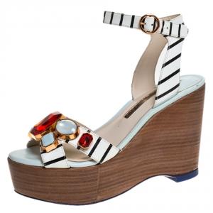Sophia Webster White/Black Striped Leather Suki Gem Embellished Wedge Platform Sandals Size 37.5 - used