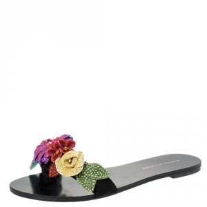 Sophia Webster Black Suede Glitter And Crystal Floral Embellished Lilico Flat Slides Size 38.5
