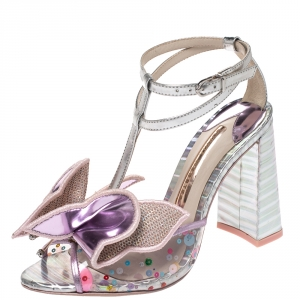 Sophia Webster Multicolor Metallic Leather And PVC Lana Crystal Embellished Block Heel Sandals Size 36