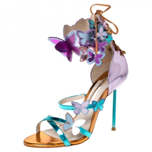 Sophia Webster Metallic Multicolor Leather Harmony Butterfly Ankle Cuff Sandals Size 35
