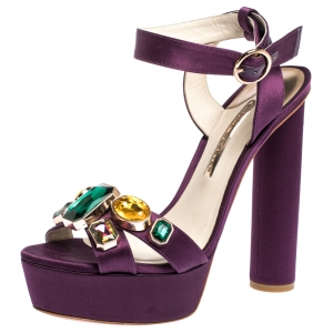 Sophia Webster Purple Satin Amanda Crystal Embellished Cross Strap Sandals Size 41