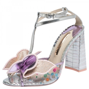 Sophia Webster Multicolor Metallic Leather And PVC Lana Crystal Embellished Block Heel Sandals Size 40