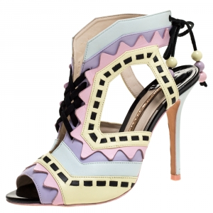Sophia Webster Multicolor Leather Cutout Ankle Wrap Sandals Size 39