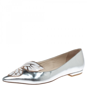 Sophia Webster Metallic Silver Leather Bibi Butterfly Pointed Toe Ballet Flats Size 37.5 - used