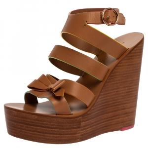 Sophia Webster Brown Leather Samara Strappy Wedge Platform Ankle Strap Sandals Size 39.5 - used