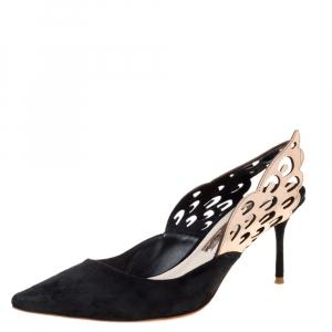 Sophia Webster Black Suede Angelo Slingback Pointed Toe Sandals Size 36 - used