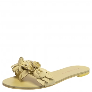 Sophia Webster Yellow Leather Lilico Flower Flat Slides Size 35.5