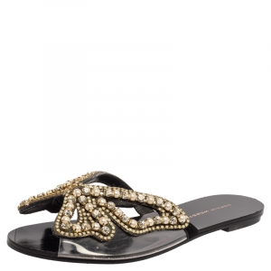 Sophia Webster Black Leather And PVC Madame Butterfly Flat Slide Size 36.5