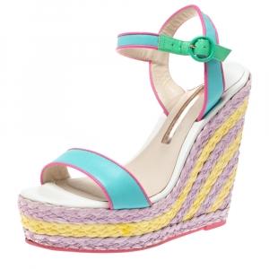 Sophia Webster Multicolor Leather Lucita Raffia Wedge Platform Ankle Strap Sandals Size 38