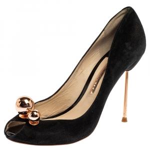 Sophia Webster Black Suede Loren Peep Toe Pumps Size 37