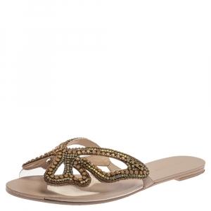 Sophia Webster Pale Pink PVC Madame Crystal Embellished Slide Flats Size 39.5