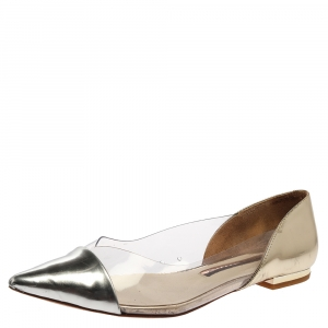 Sophia Webster Silver/Gold Leather And PVC Daria Flats Size 38 - used