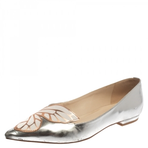 Sophia Webster Metallic Silver/Rose Gold Leather Bibi Butterfly Pointed Toe Ballet Flats Size 37.5 - used