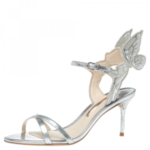 Sophia Webster Silver Leather Chiara Embroidery Sandals Size 38