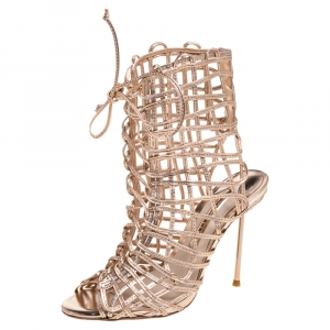 Sophia Webster Metallic Rose Gold Leather Delphine Peep Toe Cage Sandals Size 36 - used