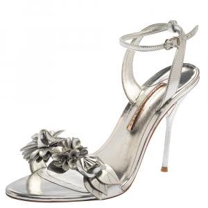 Sophia Webster Silver Foil Leather Lilico Floral Embellished Ankle Wrap Sandals Size 41 - used