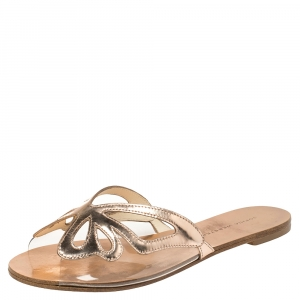Sophia Webster Metallic Rose Gold Leather And PVC Madame Butterfly Flat Slides Size 37 - used