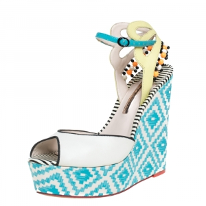 Sophia Webster Multicolor Printed Canvas and Leather Wedge Sandals Size 40 - used