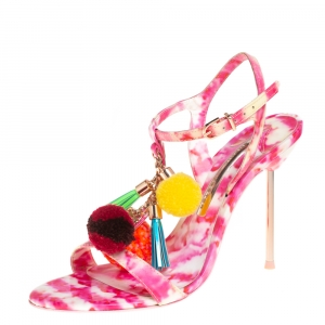 Sophia Webster Pink and White Patent Leather Layla Pom Pom Embellished T Strap Sandals Size 37 - used
