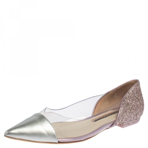 Sophia Webster Silver Leather And PVC Daria Ballerina Flats Size 38 - used