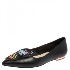 Sophia Webster Black Leather Bibi Butterfly Ballet Flats Size 37