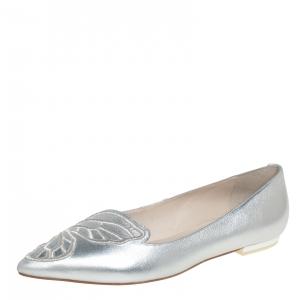 Sophia Webster Silver Leather Bibi Butterfly Ballet Flats Size 39.5