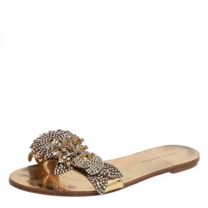 Sophia Webster Metallic Gold Embellished Leather Lilico Flat Slides Size 38