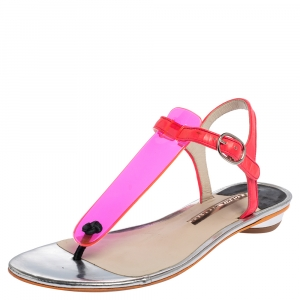 Sophia Webster Pink PVC And Leather Thong Flat Sandals Size 38 - used