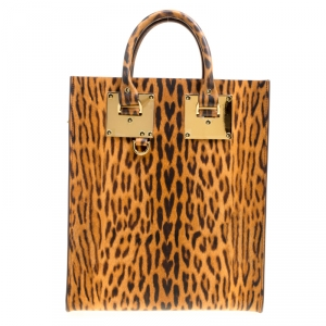 Sophie Hulme Leopard Print Leather Albion Top Handle Bag