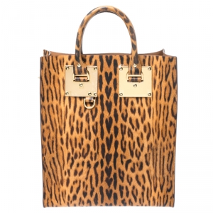 Sophie Hulme Brown/Black Leopard Print Leather Albion Tote
