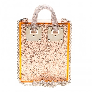 Sophie Hulme Clear Brown Glitter Perspex Compton Crossbody Bag