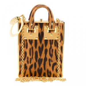 Sophie Hulme Brown Leopard Print Leather Compton Crossbody Bag