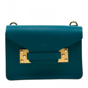 Sophie Hulme Green Leather Nano Milner Crossbody Bag
