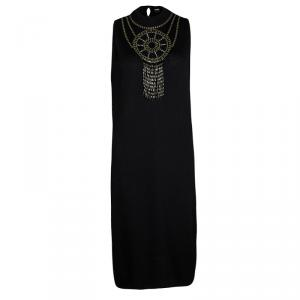 St. John Black Knit Embellished Sleeveless Dress L