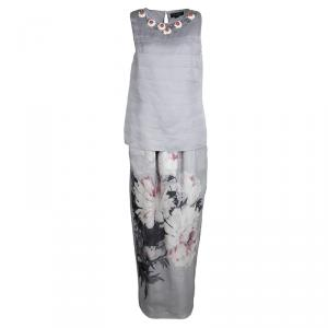 St. John Grey Silk Floral Embellished Top and Printed Maxi Skirt Set M