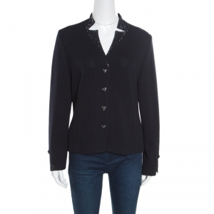 St. John Evening Navy Blue Wool Embellished Heart Buttoned Cardigan L