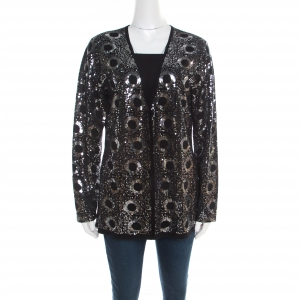 St. John Black Silk and Cashmere Knit Sequin Embellished Cardigan L