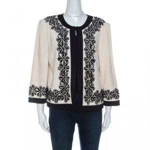 St. John Cream and Black Floral Applique Knit Jacket XL