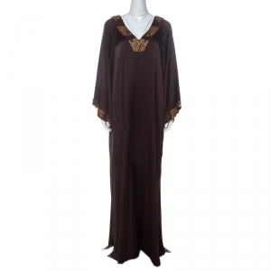 St. John Brown Stretch Silk Beaded Trim Kaftan Dress L