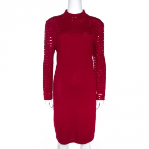 St. John Evening Maroon Knit Embellished Mock Neck Dress L