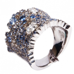 Stefan Hafner Fancy Sapphire and Diamond 18K White Gold Band Ring Size 54